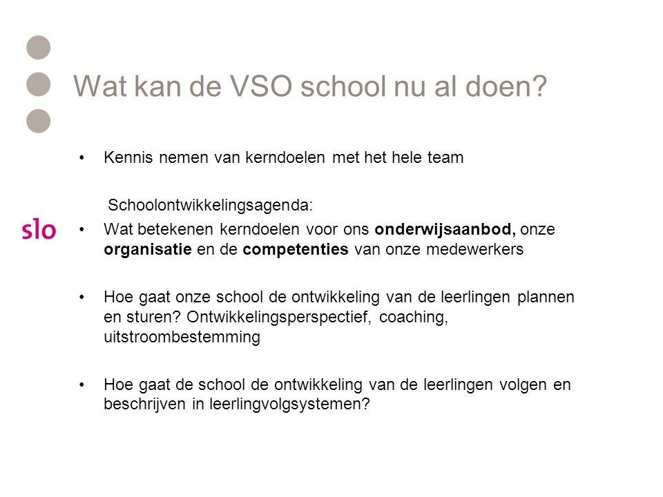 Wat kan de VSO school nu al doen? •Kennis nemen van kerndoelen met het hele team Schoolontwikkelingsagenda: •Wat betekenen kerndoelen voor ons onderwi