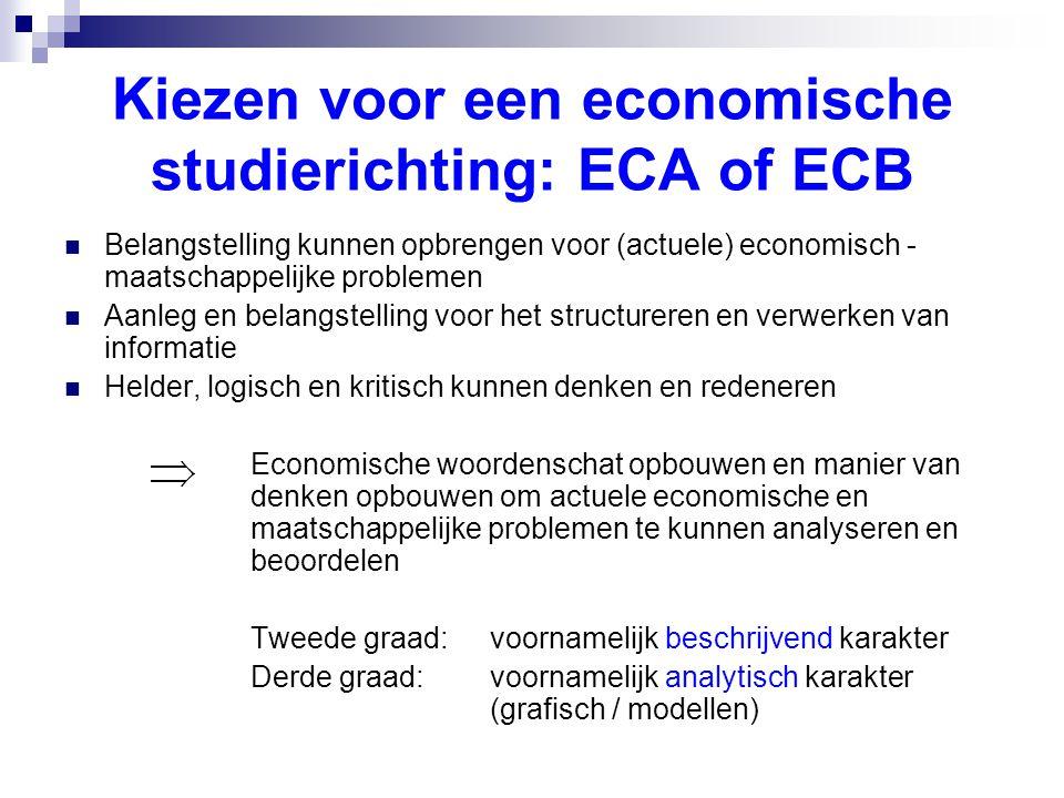 Kiezen voor een economische studierichting: ECA of ECB  Belangstelling kunnen opbrengen voor (actuele) economisch - maatschappelijke problemen  Aanleg en belangstelling voor het structureren en verwerken van informatie  Helder, logisch en kritisch kunnen denken en redeneren Economische woordenschat opbouwen en manier van denken opbouwen om actuele economische en maatschappelijke problemen te kunnen analyseren en beoordelen Tweede graad: voornamelijk beschrijvend karakter Derde graad: voornamelijk analytisch karakter (grafisch / modellen)