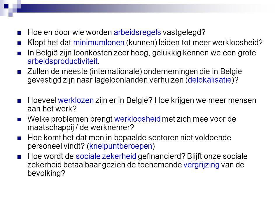  Hoe en door wie worden arbeidsregels vastgelegd?  Klopt het dat minimumlonen (kunnen) leiden tot meer werkloosheid?  In België zijn loonkosten zee