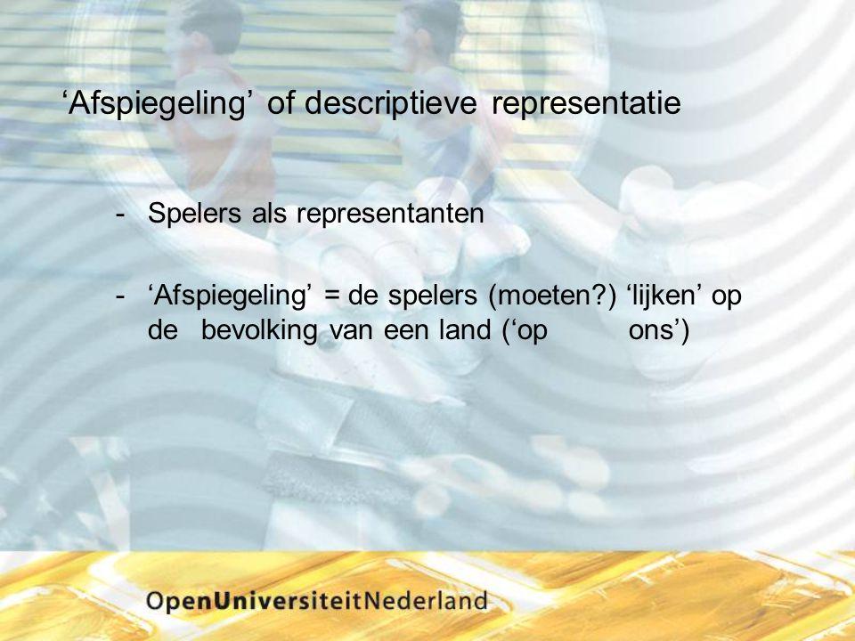'Afspiegeling' of descriptieve representatie Spelers als representanten 'Afspiegeling' = de spelers (moeten?) 'lijken' op de bevolking van een land