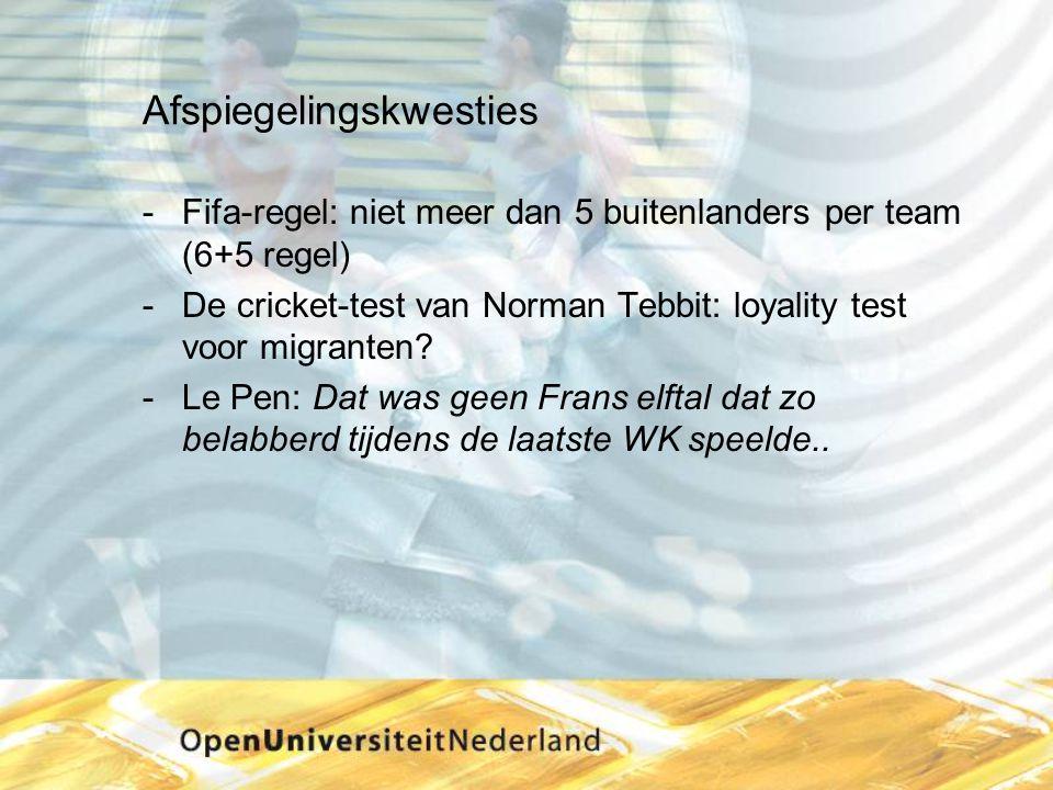 Afspiegelingskwesties Fifa-regel: niet meer dan 5 buitenlanders per team (6+5 regel) De cricket-test van Norman Tebbit: loyality test voor migranten