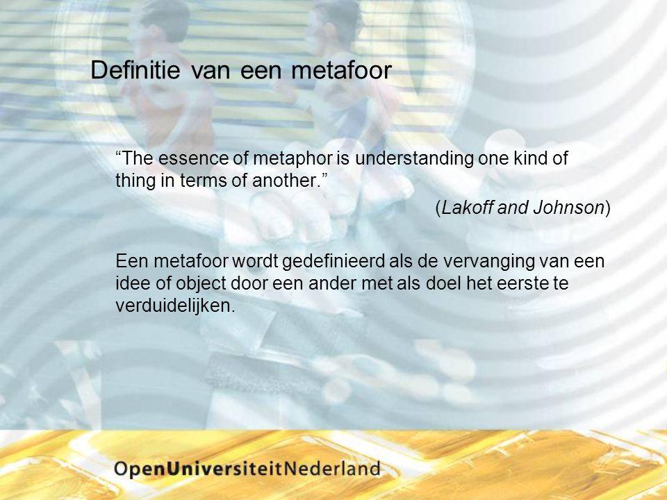 """Definitie van een metafoor """"The essence of metaphor is understanding one kind of thing in terms of another."""" (Lakoff and Johnson) Een metafoor wordt g"""