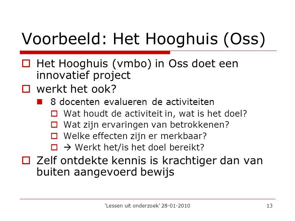 'Lessen uit onderzoek' 28-01-201013 Voorbeeld: Het Hooghuis (Oss)  Het Hooghuis (vmbo) in Oss doet een innovatief project  werkt het ook?  8 docent