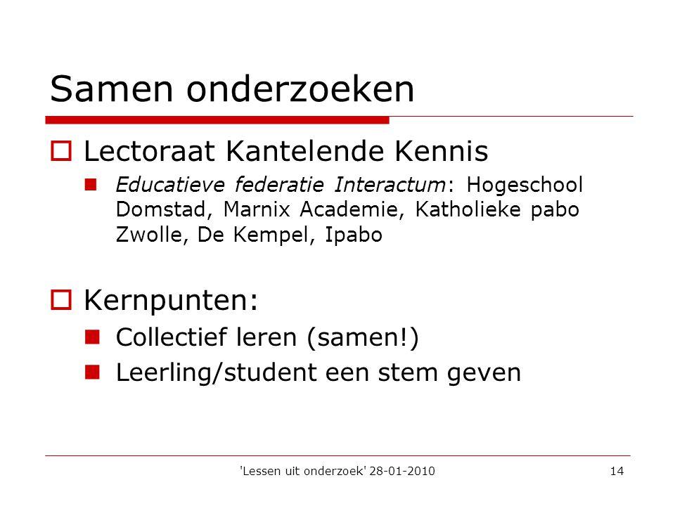 'Lessen uit onderzoek' 28-01-201014 Samen onderzoeken  Lectoraat Kantelende Kennis  Educatieve federatie Interactum: Hogeschool Domstad, Marnix Acad