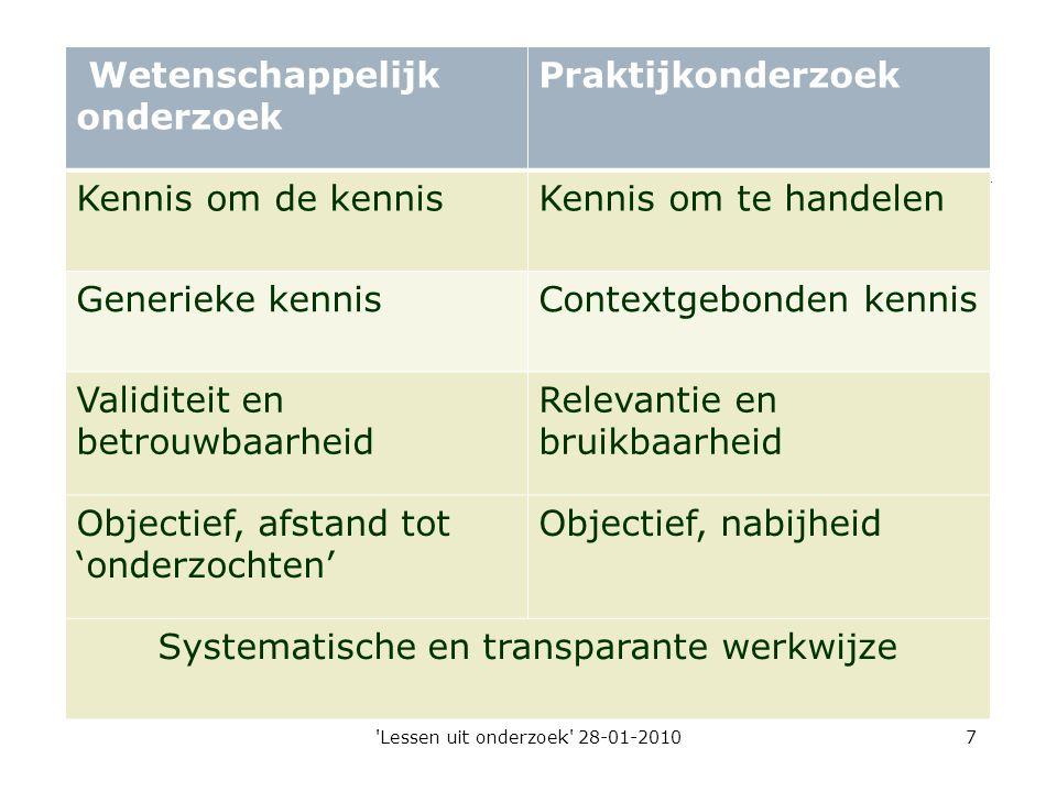 'Lessen uit onderzoek' 28-01-20107 Wetenschappelijk onderzoek Praktijkonderzoek Kennis om de kennisKennis om te handelen Generieke kennisContextgebond