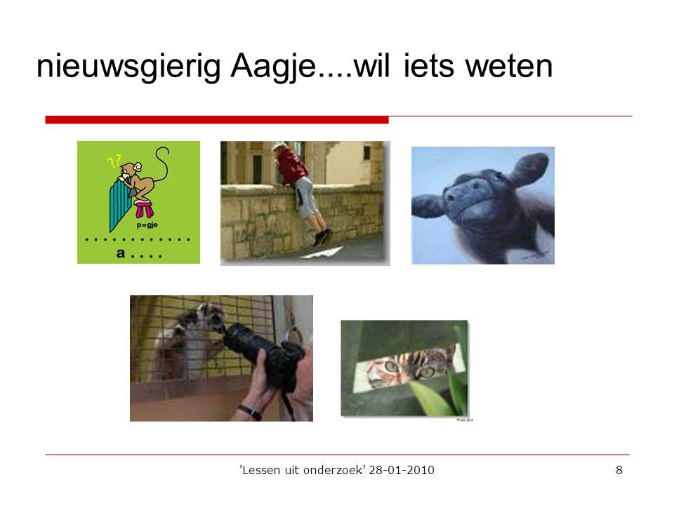 'Lessen uit onderzoek' 28-01-20108 nieuwsgierig Aagje....wil iets weten