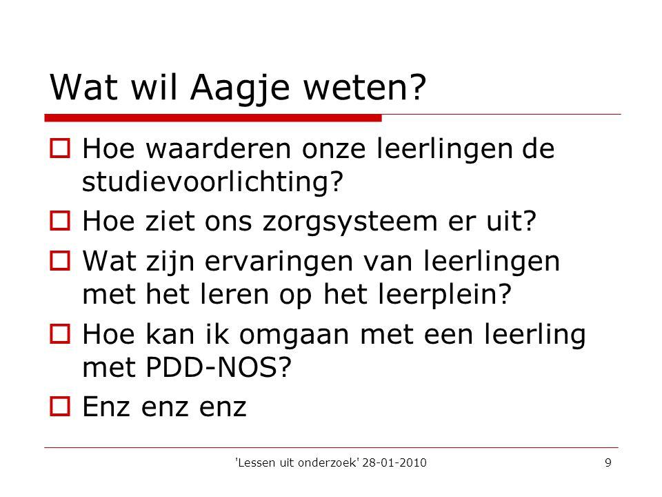 'Lessen uit onderzoek' 28-01-20109 Wat wil Aagje weten?  Hoe waarderen onze leerlingen de studievoorlichting?  Hoe ziet ons zorgsysteem er uit?  Wa
