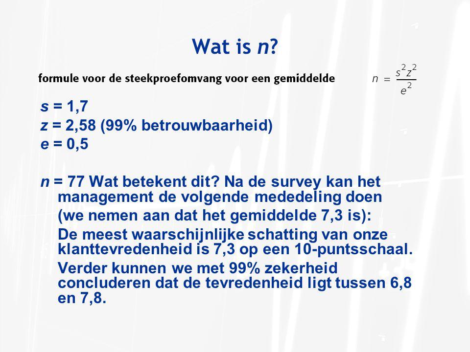 s = 1,7 z = 2,58 (99% betrouwbaarheid) e = 0,5 n = 77 Wat betekent dit? Na de survey kan het management de volgende mededeling doen (we nemen aan dat