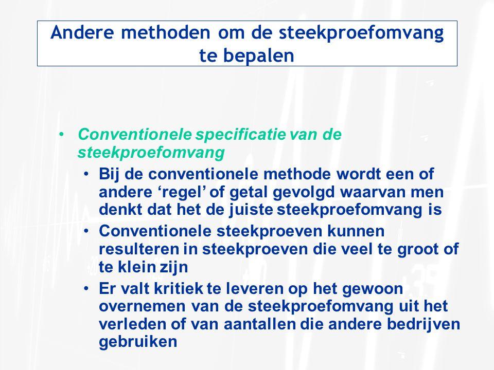 Andere methoden om de steekproefomvang te bepalen •Conventionele specificatie van de steekproefomvang •Bij de conventionele methode wordt een of ander
