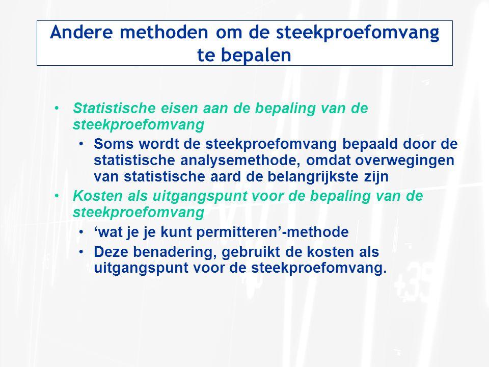 Andere methoden om de steekproefomvang te bepalen •Statistische eisen aan de bepaling van de steekproefomvang •Soms wordt de steekproefomvang bepaald