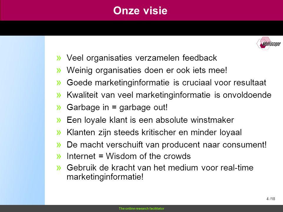 The online research facilitator Onze visie 4 /18 » Veel organisaties verzamelen feedback » Weinig organisaties doen er ook iets mee.