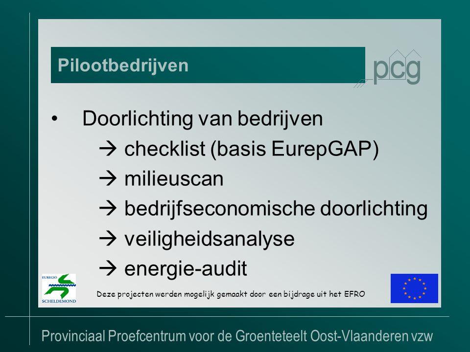 Provinciaal Proefcentrum voor de Groenteteelt Oost-Vlaanderen vzw •Doorlichting van bedrijven  checklist (basis EurepGAP)  milieuscan  bedrijfseconomische doorlichting  veiligheidsanalyse  energie-audit Pilootbedrijven Deze projecten werden mogelijk gemaakt door een bijdrage uit het EFRO