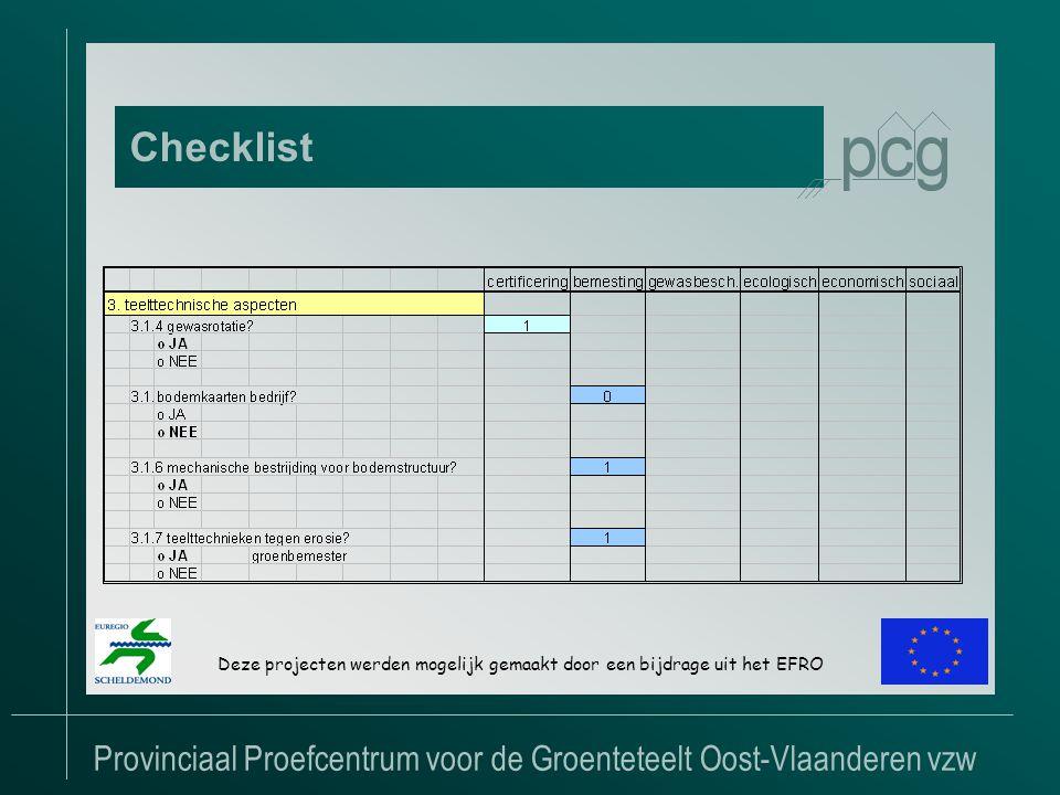 Provinciaal Proefcentrum voor de Groenteteelt Oost-Vlaanderen vzw Checklist Deze projecten werden mogelijk gemaakt door een bijdrage uit het EFRO