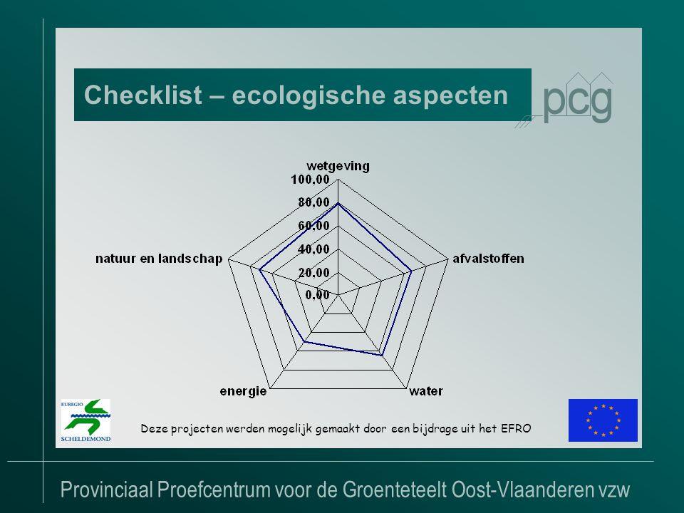 Provinciaal Proefcentrum voor de Groenteteelt Oost-Vlaanderen vzw Checklist – ecologische aspecten Deze projecten werden mogelijk gemaakt door een bijdrage uit het EFRO