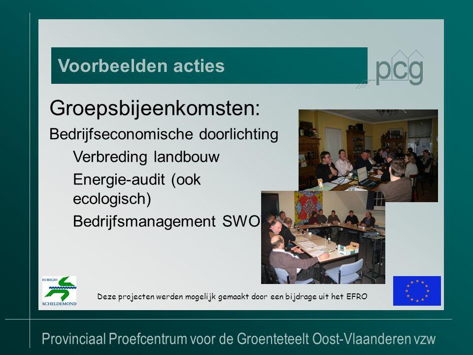 Provinciaal Proefcentrum voor de Groenteteelt Oost-Vlaanderen vzw Voorbeelden acties Deze projecten werden mogelijk gemaakt door een bijdrage uit het EFRO Groepsbijeenkomsten: Bedrijfseconomische doorlichting Verbreding landbouw Energie-audit (ook ecologisch) Bedrijfsmanagement SWOT