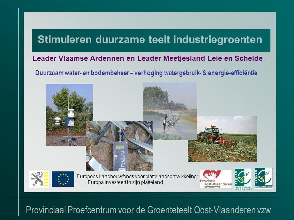 Provinciaal Proefcentrum voor de Groenteteelt Oost-Vlaanderen vzw Stimuleren duurzame teelt industriegroenten Leader Vlaamse Ardennen en Leader Meetjesland Leie en Schelde Duurzaam water- en bodembeheer – verhoging watergebruik- & energie-efficiëntie Europees Landbouwfonds voor plattelandsontwikkeling: Europa investeert in zijn platteland