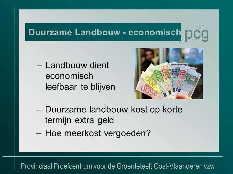 Provinciaal Proefcentrum voor de Groenteteelt Oost-Vlaanderen vzw –Landbouw dient economisch leefbaar te blijven Duurzame Landbouw - economisch –Duurzame landbouw kost op korte termijn extra geld –Hoe meerkost vergoeden