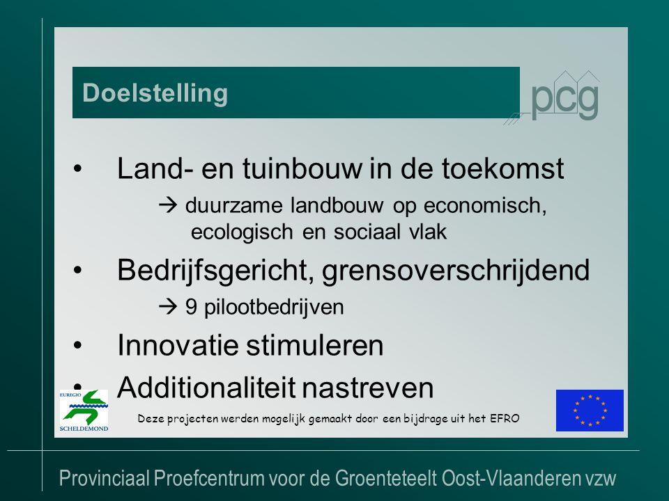 Provinciaal Proefcentrum voor de Groenteteelt Oost-Vlaanderen vzw •Land- en tuinbouw in de toekomst  duurzame landbouw op economisch, ecologisch en sociaal vlak •Bedrijfsgericht, grensoverschrijdend  9 pilootbedrijven •Innovatie stimuleren •Additionaliteit nastreven Doelstelling Deze projecten werden mogelijk gemaakt door een bijdrage uit het EFRO