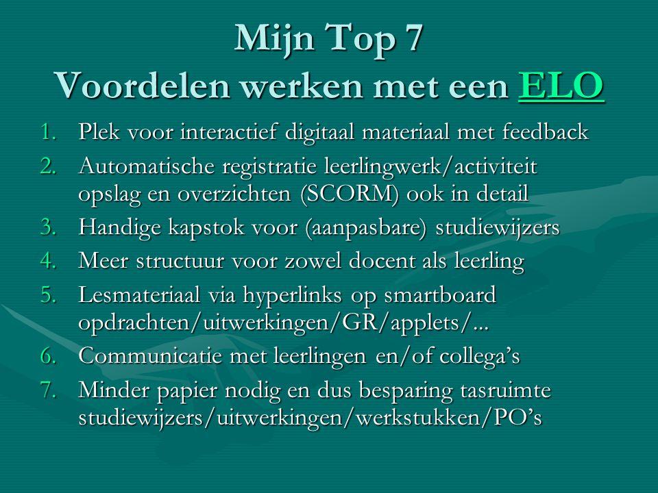 Mijn Top 7 Voordelen werken met een ELO ELO 1.Plek voor interactief digitaal materiaal met feedback 2.Automatische registratie leerlingwerk/activiteit