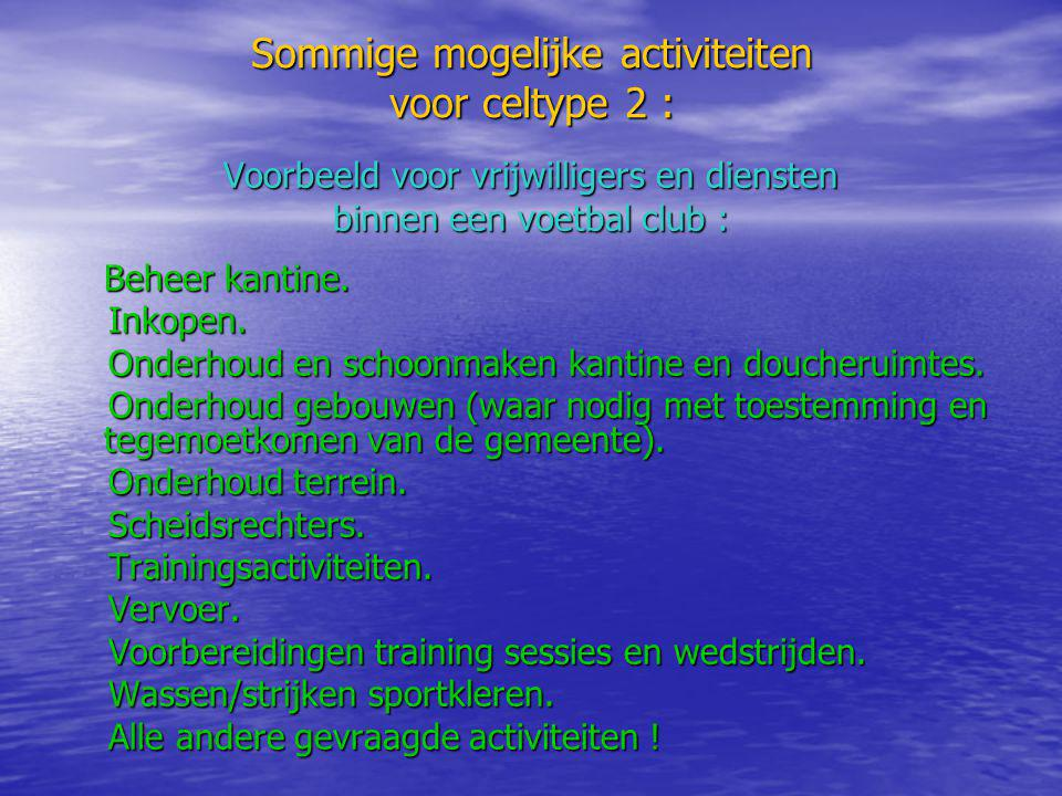 Sommige mogelijke activiteiten voor celtype 2 : Voorbeeld voor vrijwilligers en diensten binnen een voetbal club : Beheer kantine. Inkopen. Inkopen. O