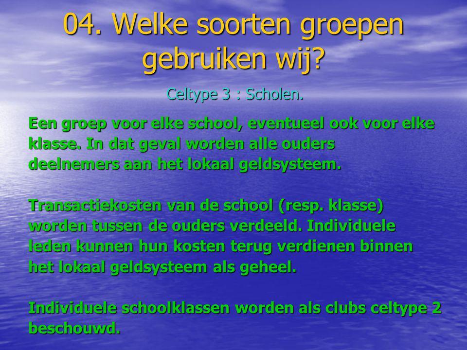04. Welke soorten groepen gebruiken wij? Celtype 3 : Scholen. Een groep voor elke school, eventueel ook voor elke klasse. In dat geval worden alle oud