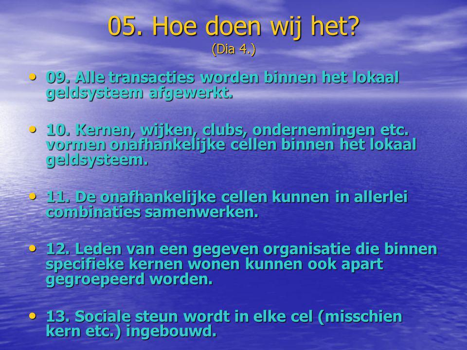 05. Hoe doen wij het? (Dia 4.) • 09. Alle transacties worden binnen het lokaal geldsysteem afgewerkt. • 10. Kernen, wijken, clubs, ondernemingen etc.