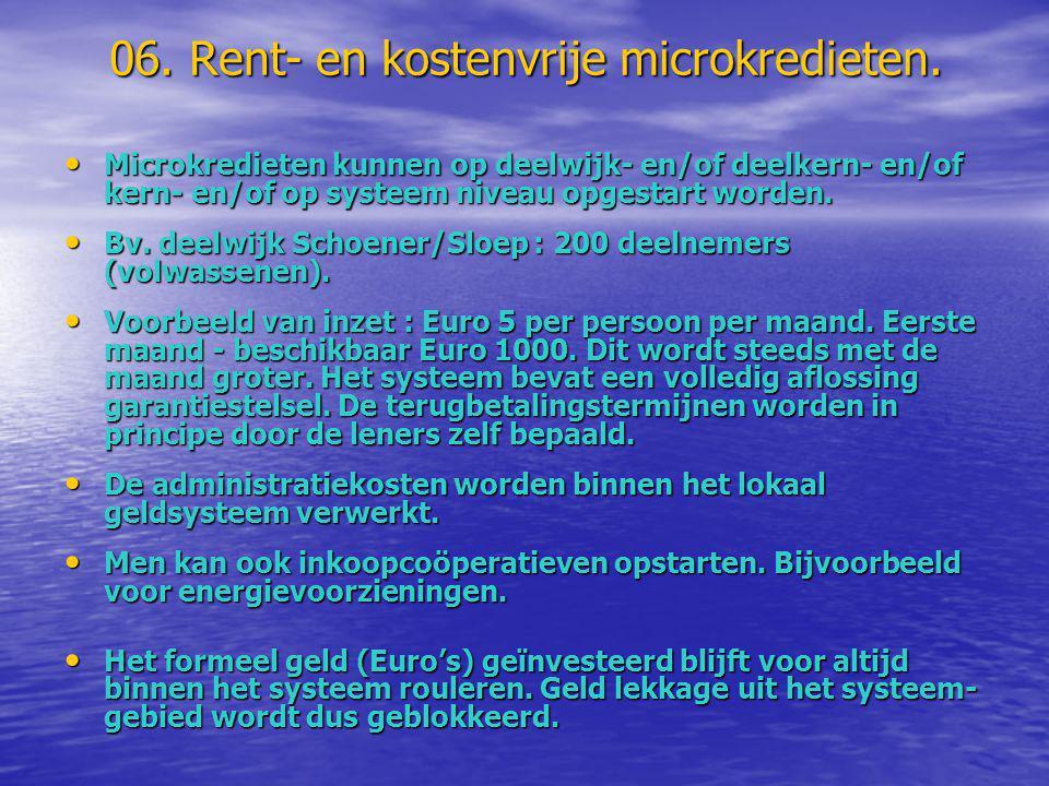 06. Rent- en kostenvrije microkredieten. • Microkredieten kunnen op deelwijk- en/of deelkern- en/of kern- en/of op systeem niveau opgestart worden. •