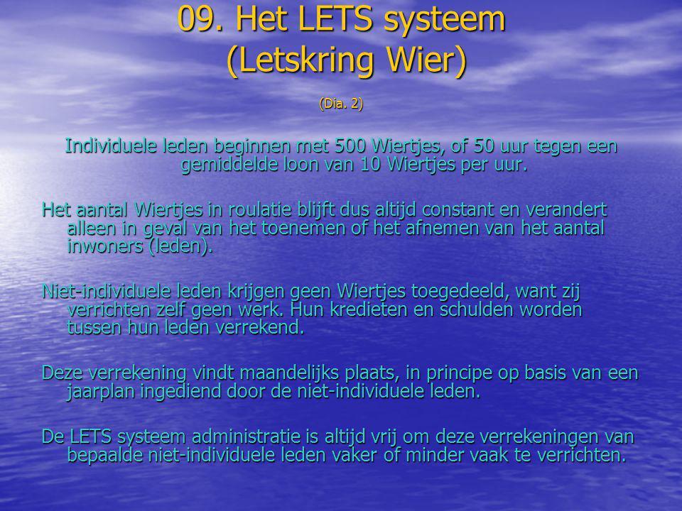 09. Het LETS systeem (Letskring Wier) (Dia. 2) Individuele leden beginnen met 500 Wiertjes, of 50 uur tegen een gemiddelde loon van 10 Wiertjes per uu