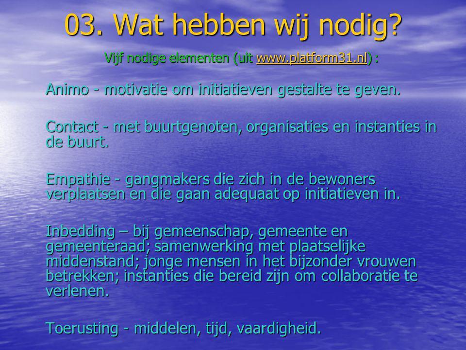 03. Wat hebben wij nodig? Vijf nodige elementen (uit www.platform31.nl) : www.platform31.nl Animo - motivatie om initiatieven gestalte te geven. Conta