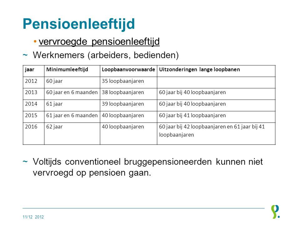 Pensioenleeftijd •vervroegde pensioenleeftijd ~Werknemers (arbeiders, bedienden) ~Voltijds conventioneel bruggepensioneerden kunnen niet vervroegd op