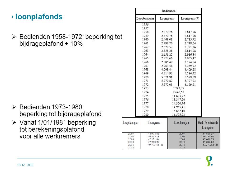 • loonplafonds  Bedienden 1958-1972: beperking tot bijdrageplafond + 10%  Bedienden 1973-1980: beperking tot bijdrageplafond  Vanaf 1/01/1981 beper