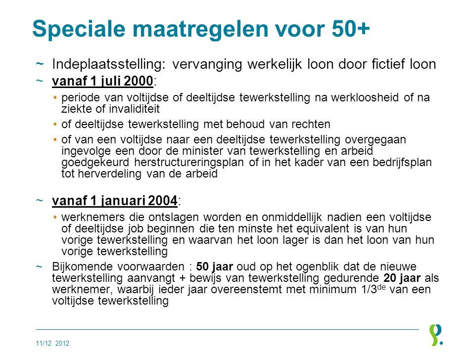 Speciale maatregelen voor 50+ ~Indeplaatsstelling: vervanging werkelijk loon door fictief loon ~vanaf 1 juli 2000: •periode van voltijdse of deeltijds