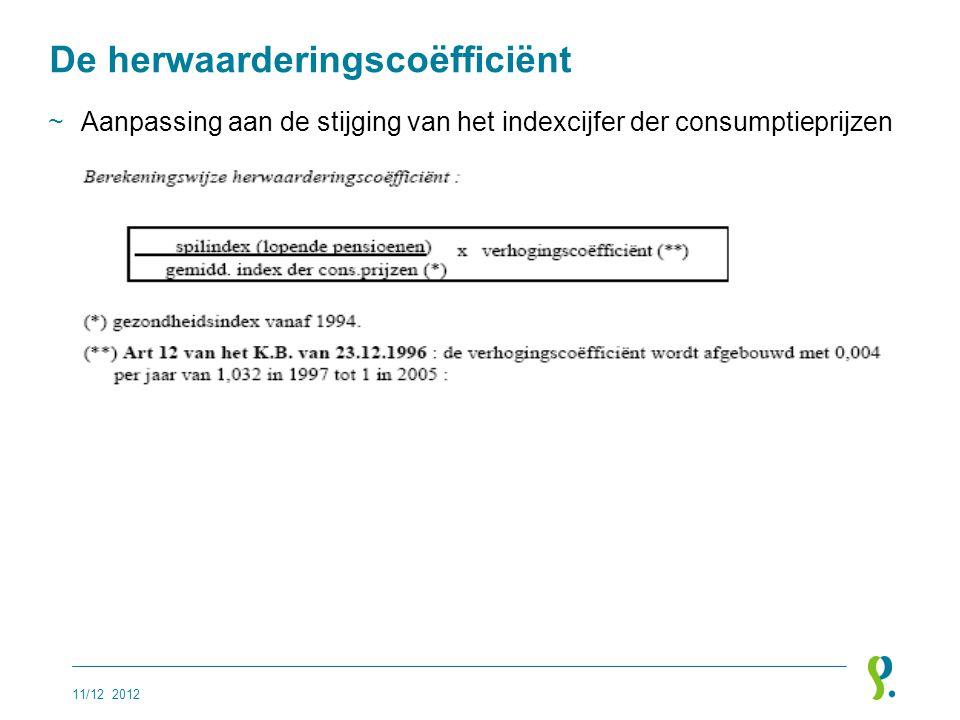 De herwaarderingscoëfficiënt ~Aanpassing aan de stijging van het indexcijfer der consumptieprijzen 11/12 2012