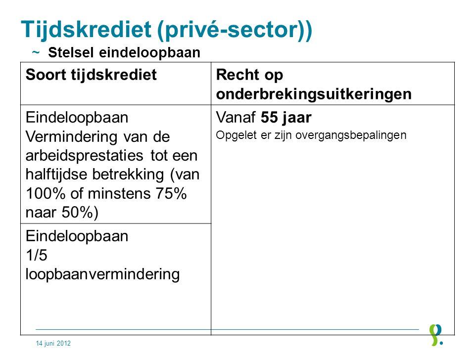 Tijdskrediet (privé-sector)) ~Stelsel eindeloopbaan 14 juni 2012 Soort tijdskredietRecht op onderbrekingsuitkeringen Eindeloopbaan Vermindering van de