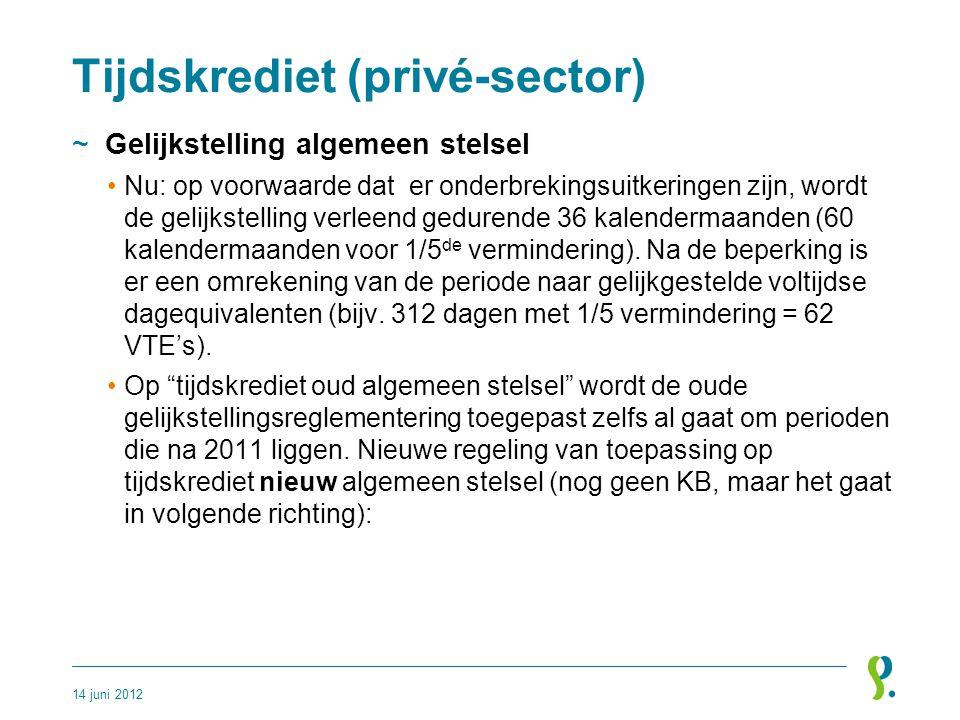 Tijdskrediet (privé-sector) ~Gelijkstelling algemeen stelsel •Nu: op voorwaarde dat er onderbrekingsuitkeringen zijn, wordt de gelijkstelling verleend