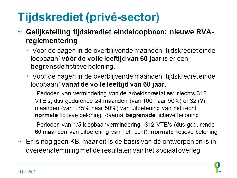 """Tijdskrediet (privé-sector) ~Gelijkstelling tijdskrediet eindeloopbaan: nieuwe RVA- reglementering • Voor de dagen in de overblijvende maanden """"tijdsk"""