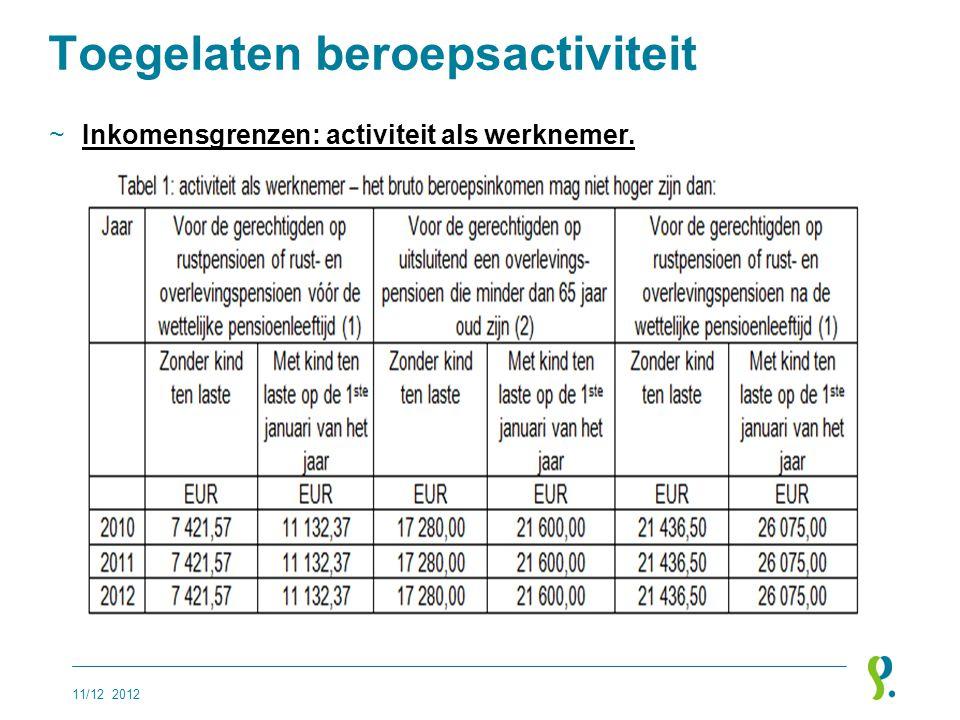Toegelaten beroepsactiviteit ~Inkomensgrenzen: activiteit als werknemer. 11/12 2012