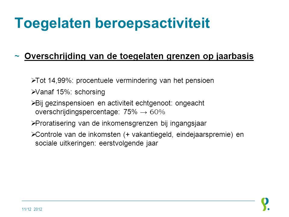 Toegelaten beroepsactiviteit ~Overschrijding van de toegelaten grenzen op jaarbasis  Tot 14,99%: procentuele vermindering van het pensioen  Vanaf 15