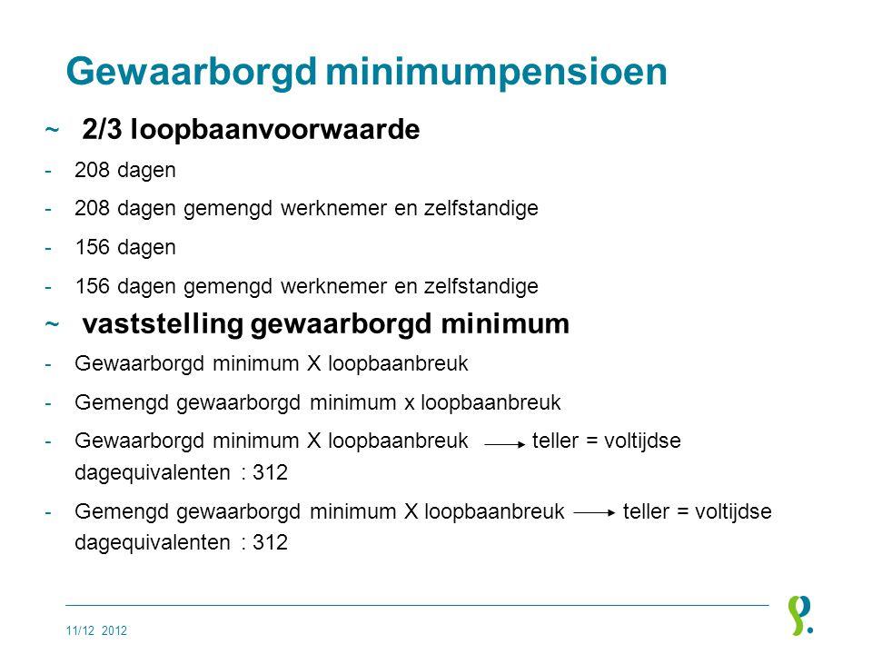 Gewaarborgd minimumpensioen ~ 2/3 loopbaanvoorwaarde -208 dagen -208 dagen gemengd werknemer en zelfstandige -156 dagen -156 dagen gemengd werknemer e