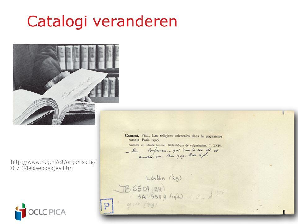Catalogi veranderen http://www.rug.nl/cit/organisatie/pictogram/archief/200 0-7-3/leidseboekjes.htm
