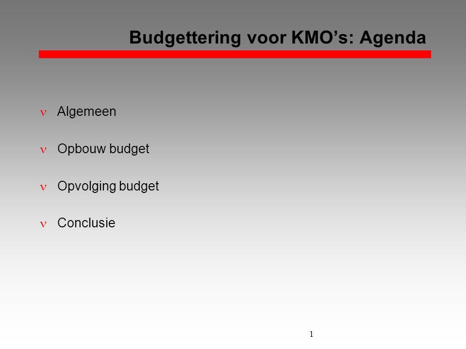 1 Budgettering voor KMO's: Agenda  Algemeen  Opbouw budget  Opvolging budget  Conclusie