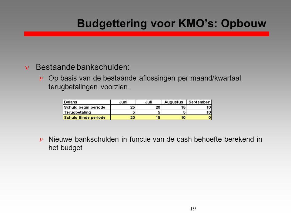 19 Budgettering voor KMO's: Opbouw  Bestaande bankschulden:  Op basis van de bestaande aflossingen per maand/kwartaal terugbetalingen voorzien.  Ni