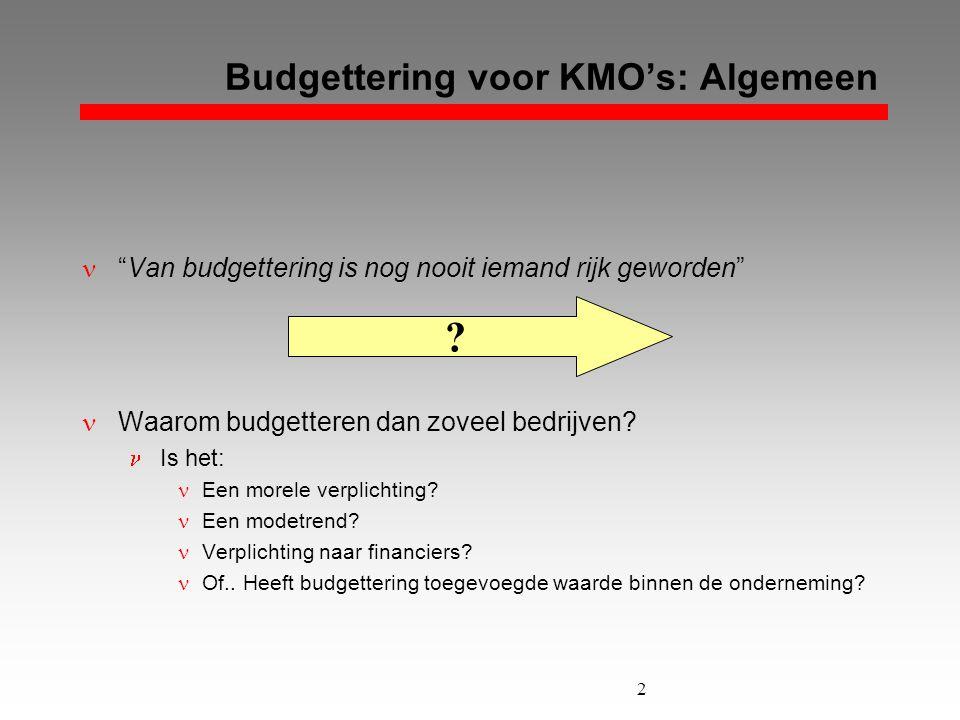"""2 Budgettering voor KMO's: Algemeen  """"Van budgettering is nog nooit iemand rijk geworden""""  Waarom budgetteren dan zoveel bedrijven?  Is het:  Een"""
