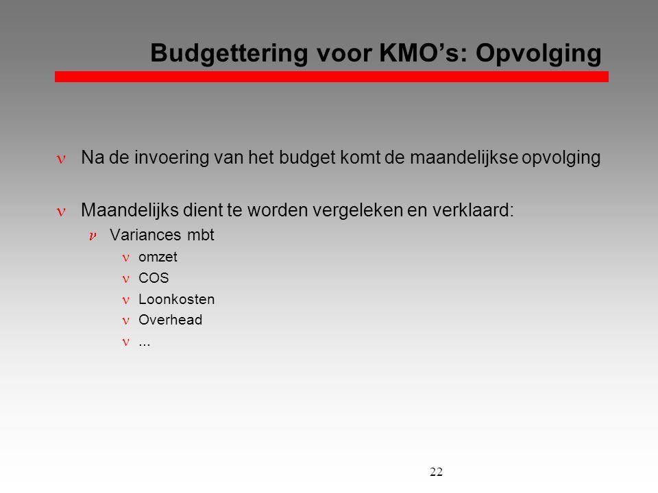 22 Budgettering voor KMO's: Opvolging  Na de invoering van het budget komt de maandelijkse opvolging  Maandelijks dient te worden vergeleken en verk