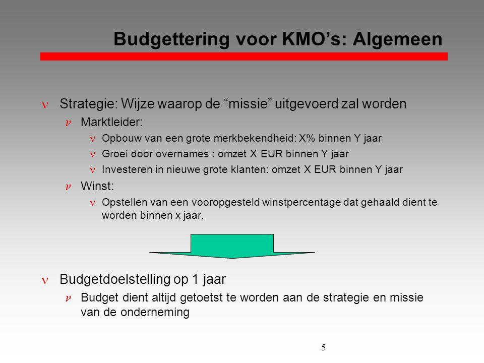 """5 Budgettering voor KMO's: Algemeen  Strategie: Wijze waarop de """"missie"""" uitgevoerd zal worden  Marktleider:  Opbouw van een grote merkbekendheid:"""