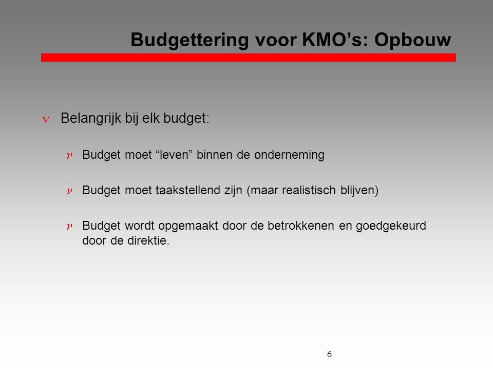 """6 Budgettering voor KMO's: Opbouw  Belangrijk bij elk budget:  Budget moet """"leven"""" binnen de onderneming  Budget moet taakstellend zijn (maar reali"""