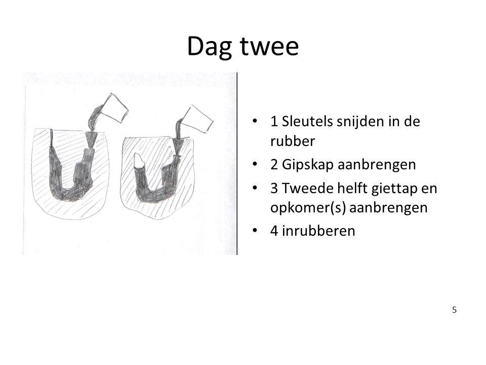 Dag twee • 1 Sleutels snijden in de rubber • 2 Gipskap aanbrengen • 3 Tweede helft giettap en opkomer(s) aanbrengen • 4 inrubberen 5