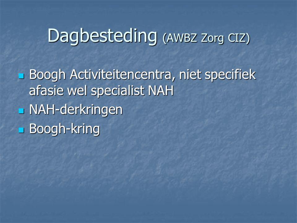 Dagbesteding (AWBZ Zorg CIZ)  Boogh Activiteitencentra, niet specifiek afasie wel specialist NAH  NAH-derkringen  Boogh-kring
