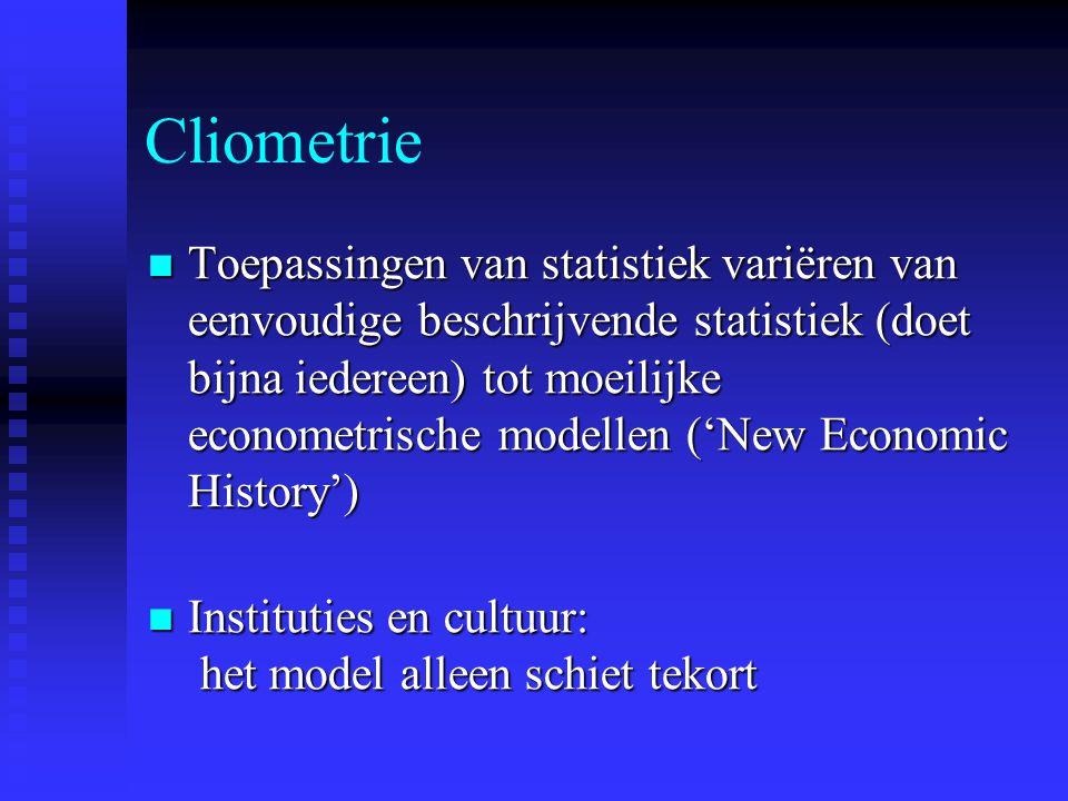 Cliometrie  Toepassingen van statistiek variëren van eenvoudige beschrijvende statistiek (doet bijna iedereen) tot moeilijke econometrische modellen