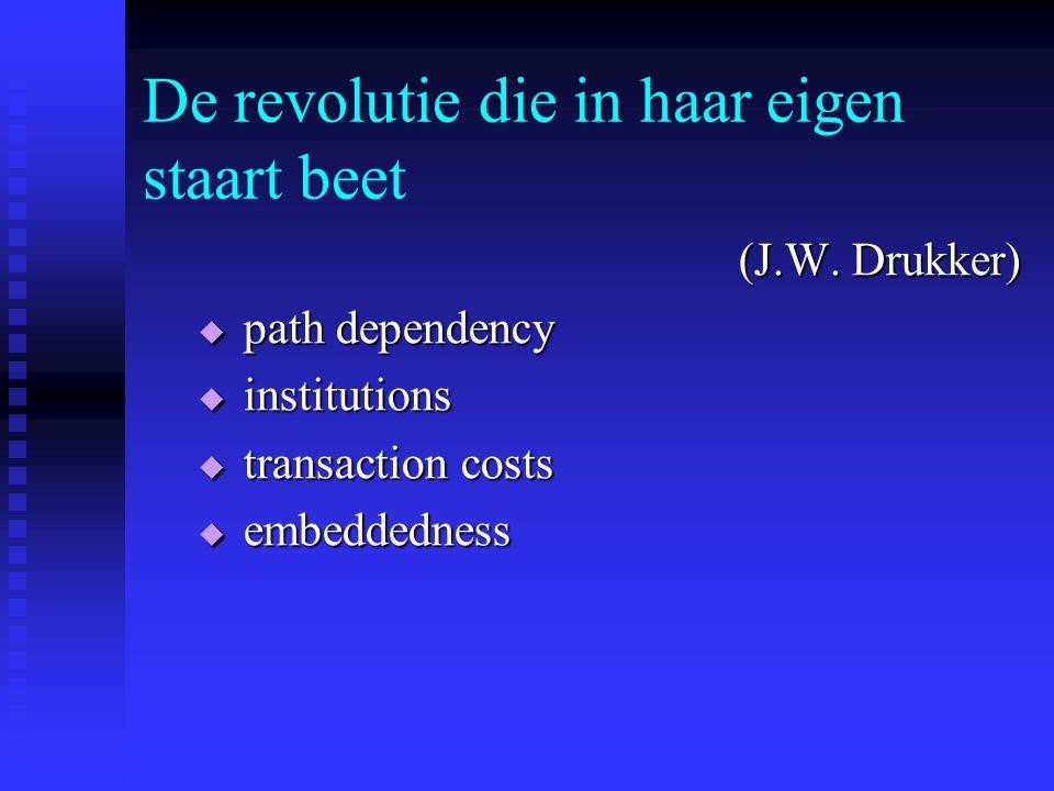De revolutie die in haar eigen staart beet (J.W. Drukker)  path dependency  institutions  transaction costs  embeddedness